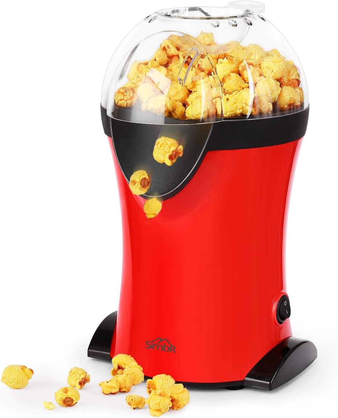 Sans Huile SIMBR Machine /à Popcorn Electrique 1200W,Appareils /à Popcorn Electrique Portable,Popcorn en 3 Minutes,Popcorn Popper Antiadh/ésif avec Tasse /à Mesurer,Air Chaud Cuisson Saine,Rouge