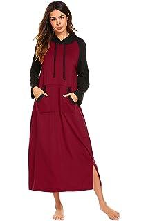 2822302556 Langle Nightgown Womens Sleepshirt Long Sleeve Sleepwear Cotton Nightshirt  S-XXL