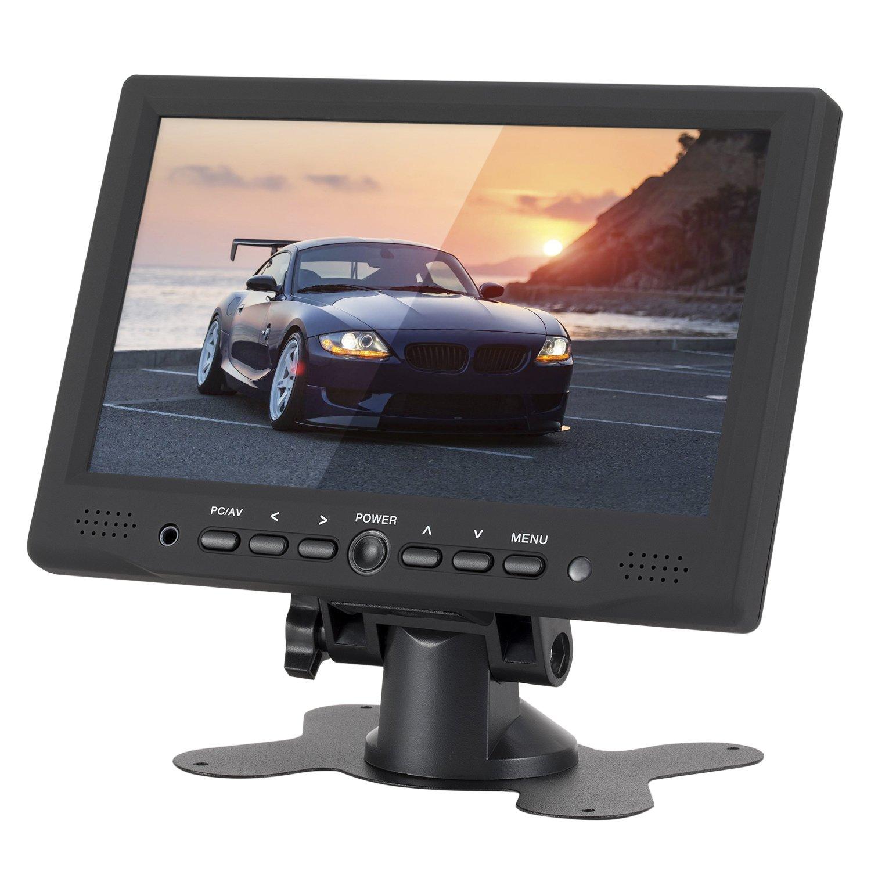 LSLYA 7 inch Digital TFT LED Monitor Display Portable 16:9 IPS HD Color Video Screen Support USB AV BNC HDMI VGA Input for PC CCTV Raspberry Pi(Black)