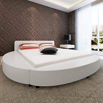 WEILANDEAL Cama con colchon 180x200 Redonda Cuero Artificial Blanca Camas Altura de la Punta de la Cama: 14 cm: Amazon.es: Hogar
