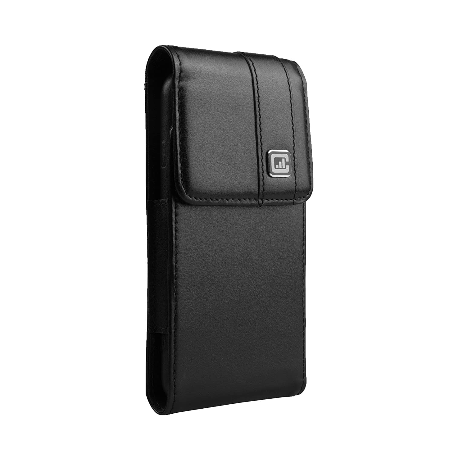 [New Gorilla Clip] CASE123 Mps Mk II TLS Genuine Leather Oversized Vertical Swivel Belt Clip Holster for Samsung Galaxy S7 for use with Slim Cases and TPU Covers - Black Cowhide CA-NC-A202-MKIIV-BK-SGS7_TLS