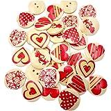 50pz bottoni in legno, a forma di cuore, con stampa floreale, adatti per cucito e scrapbooking 20mm
