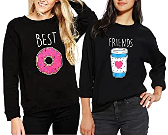 d86ba0cb98df75 JWBBU Pullover Schwester Freunde Kaffee und Donut Für Zwei Mädchen  Sweatshirt Damen Weiß Ohne Kapuze Pulli Frau Aufdruck Baumwolle Aufdruck 2  Stück ...