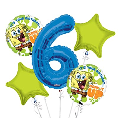 Sponge Bob It's Your Birthday Soak it Up Balloon Bouquet 6th Birthday 5 pcs - Party Supplies: Health & Personal Care