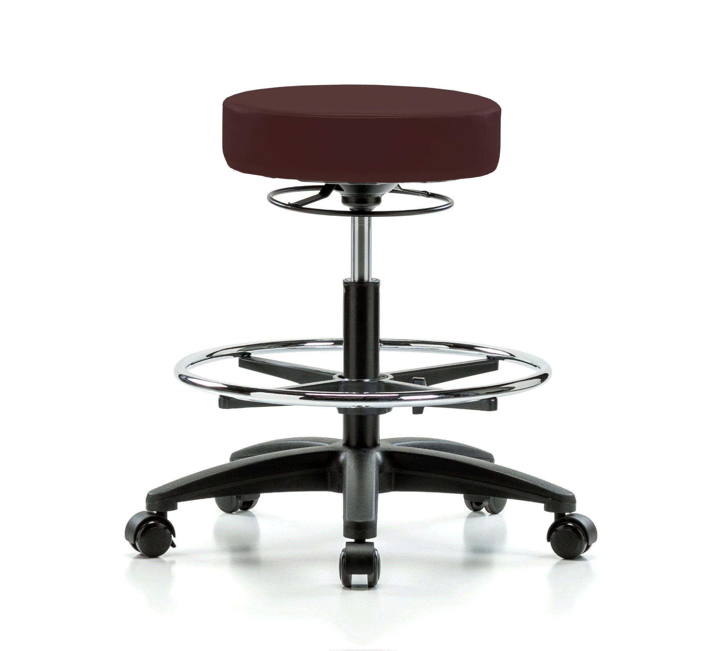 Perch Life Rolling Height Adjustable Stool With Footring For Lab Medical Office Spa Salon Kitchen Garage 20.5'' - 28'' (Stationary Caps/Burgundy Vinyl)