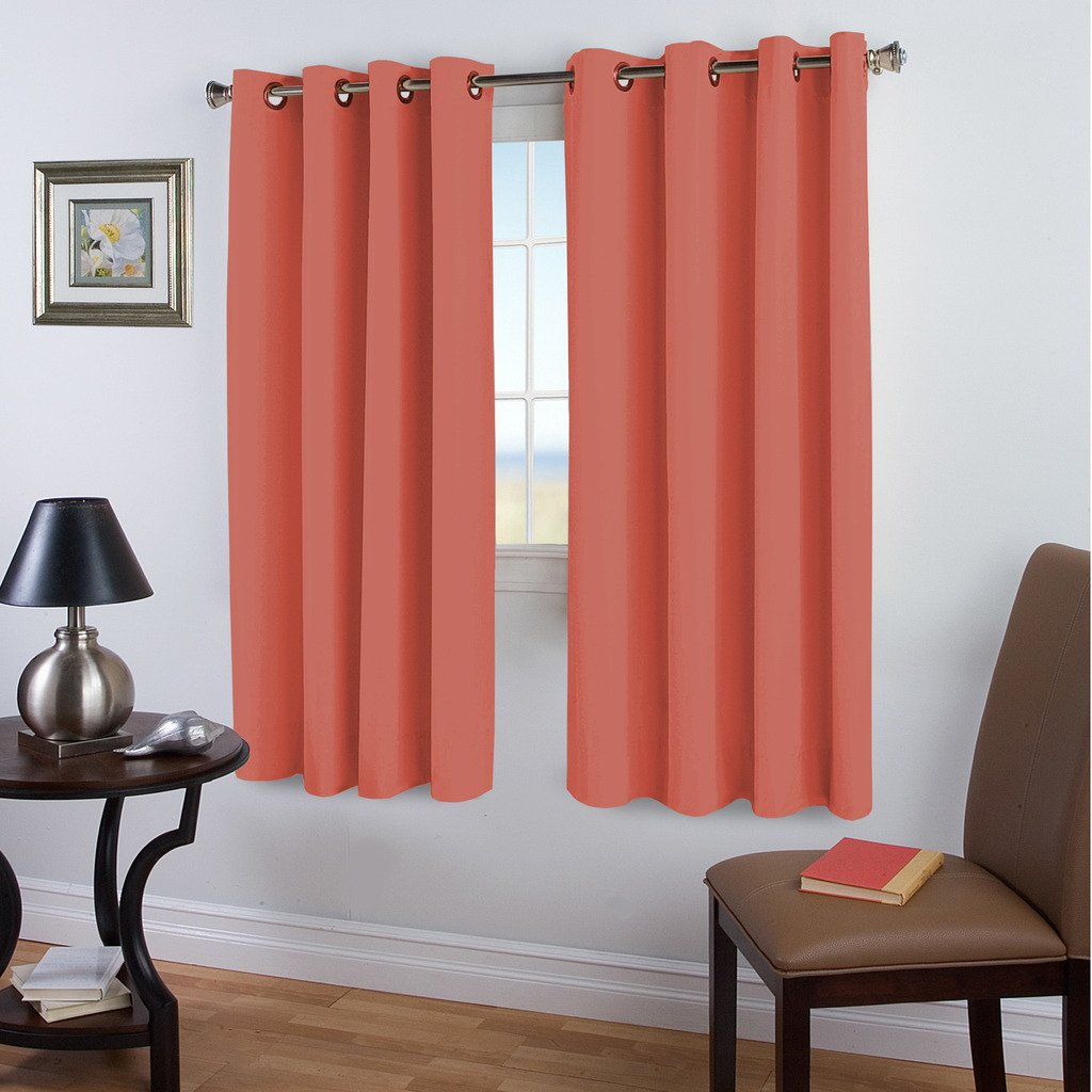 Blackout Room Darkening Solid Curtains, Coral, Nursery/ Girls Room Curtain set