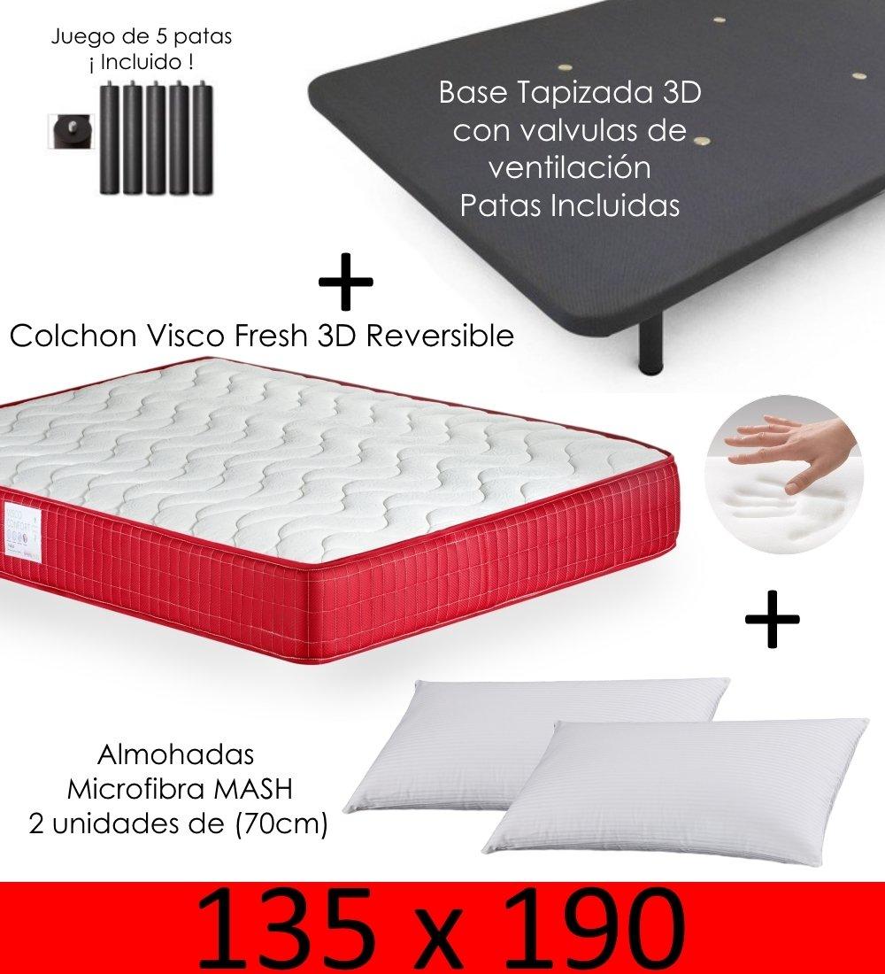 MICAMAMELLAMA Colchón Viscoelástico VISCO Confort Fresh 3D Reversible + Base Tapizada con Patas 26cm + 2 Almohadas Microfibra Mash (135 x 190): Amazon.es: ...