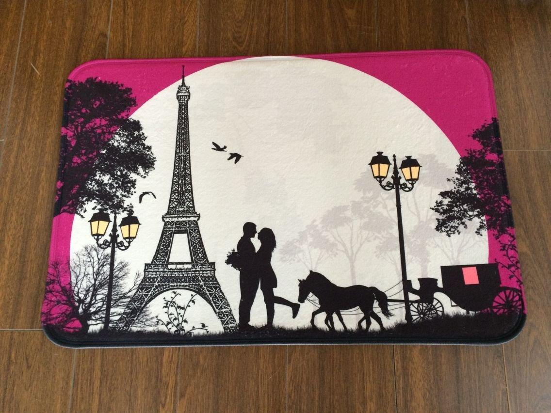 Non-Slip Doormats BLD077 Size40X60CM Burning Love Short Plush Material Valentines Day Love in Night Paris Printed Doormat