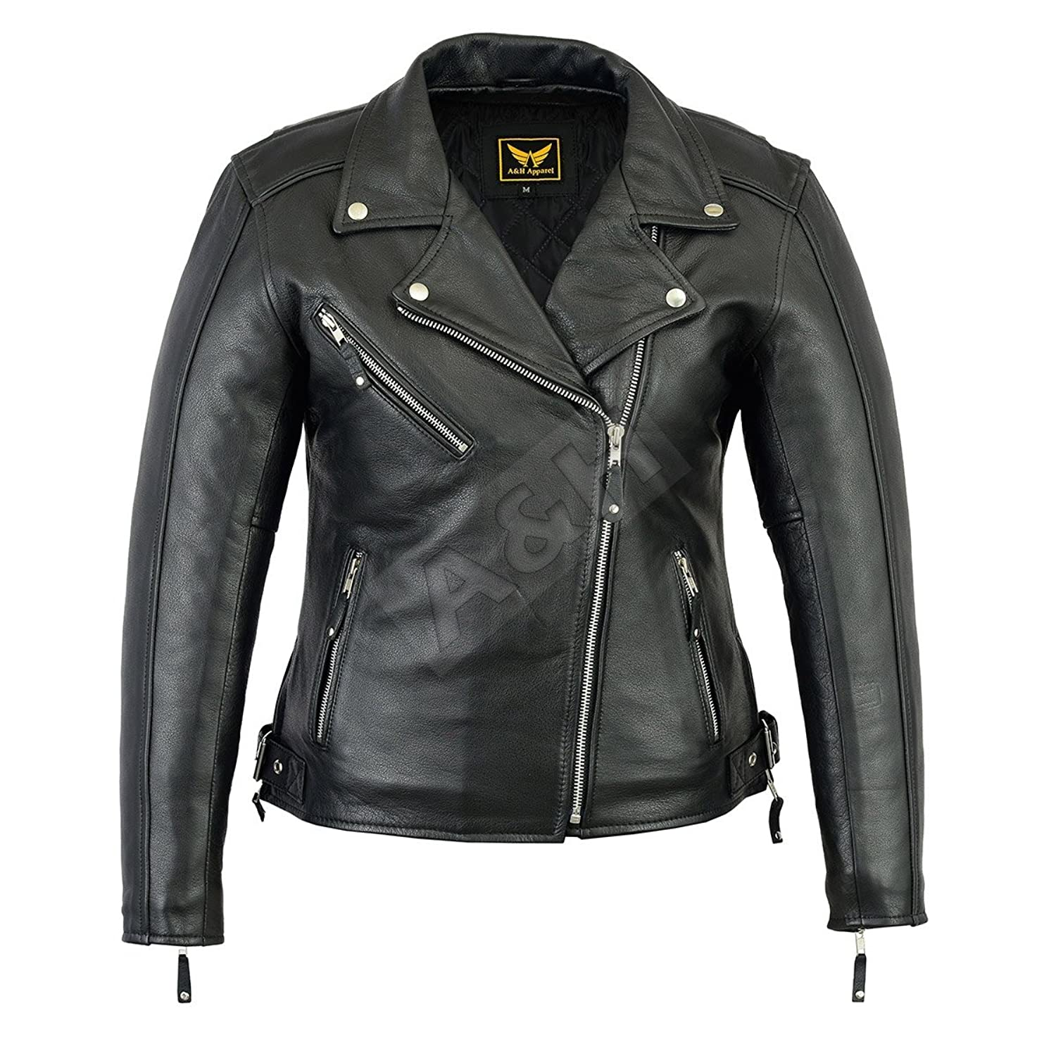 A&H Apparel Womens Ladies Motorcycle Leather Jacket Genuine Cowhide Durable Motorcycle and Casual Leather Jacket Gun Pocket