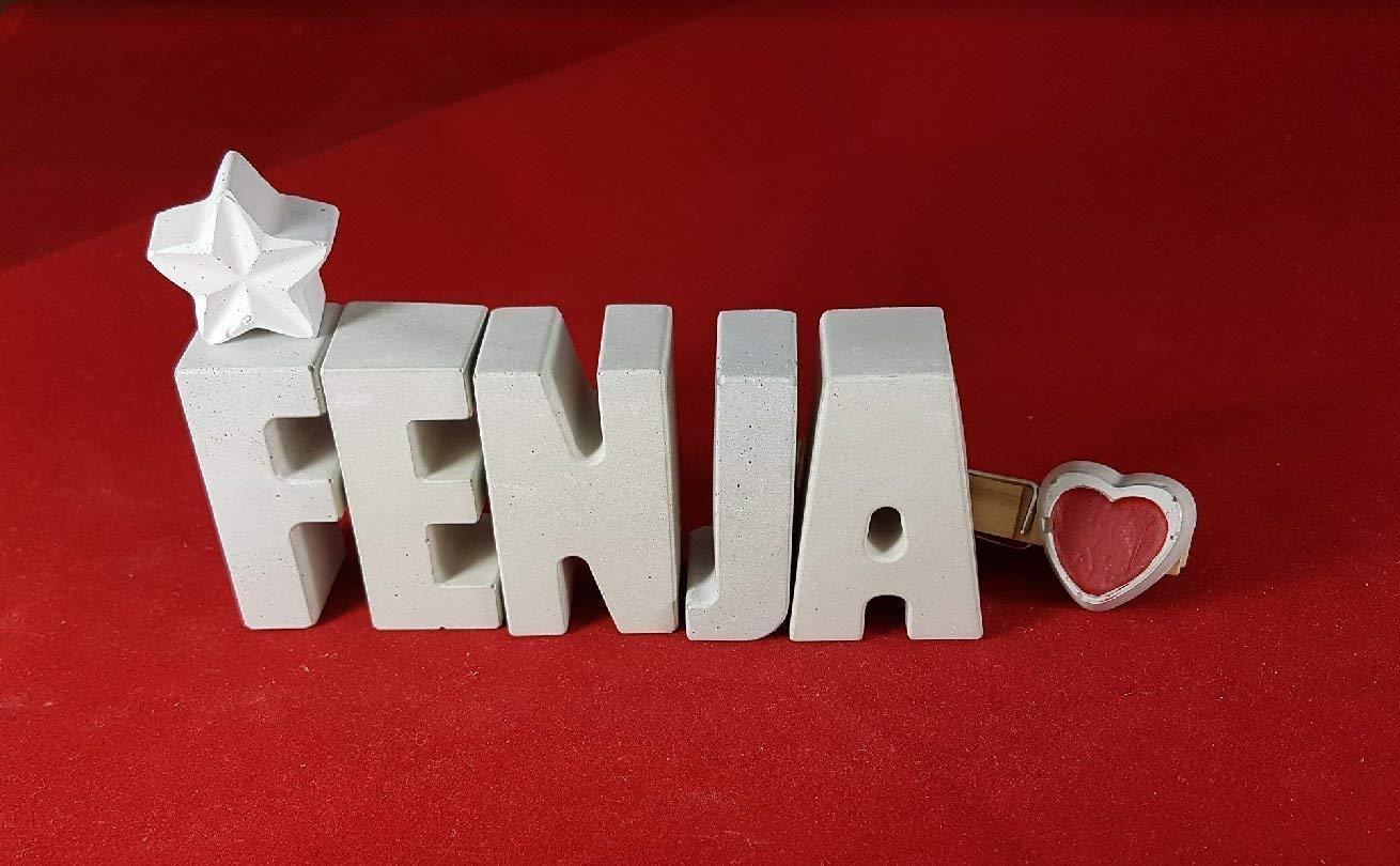Beton, Steinguss Buchstaben 3D Deko Namen FENJA mit Stern und Herzklammer als Geschenk verpackt! Ein ausgefallenes Geschenk zur Geburt, Taufe, Geburtstag oder auch zu anderen Anlässen.