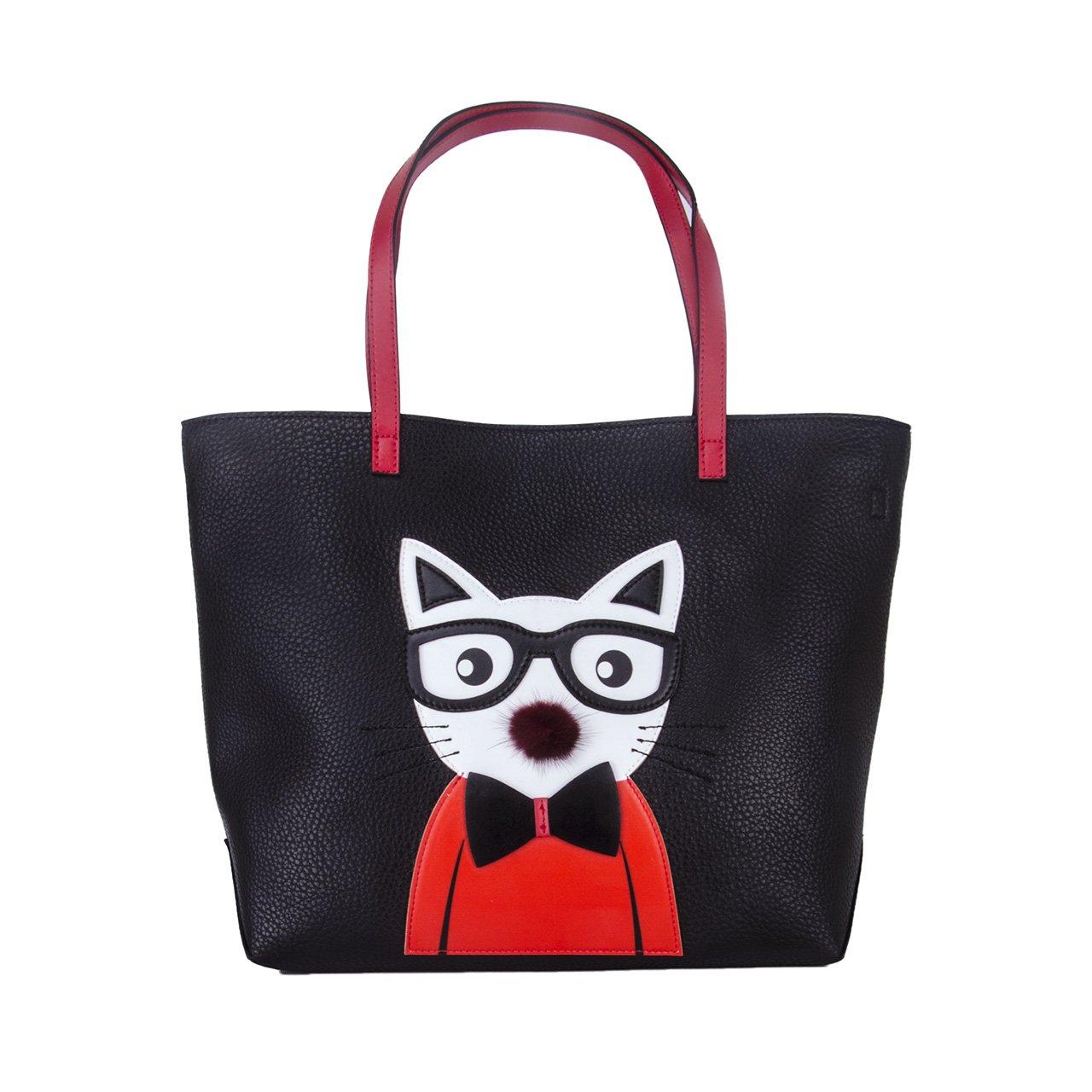 Cat Tote Bag for Women Leather Handbag Cute Crossbody Fashion Purse  Shoulder Bag Black Small by QIANBH  Amazon.in  Shoes   Handbags de7770ee0a505