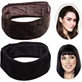 PIXNOR Velvet Wig Grip Band Adjustable Head Hair Band, Pack of 2 (Brown and Black)