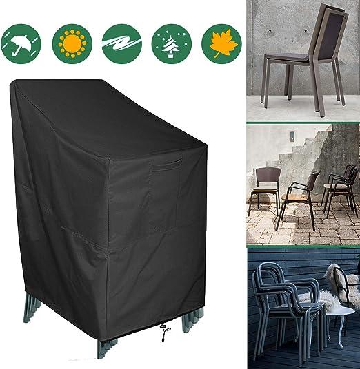 AKEfit - Funda para silla apilable impermeable y reclinable para sillas de jardín, cubierta protectora para muebles