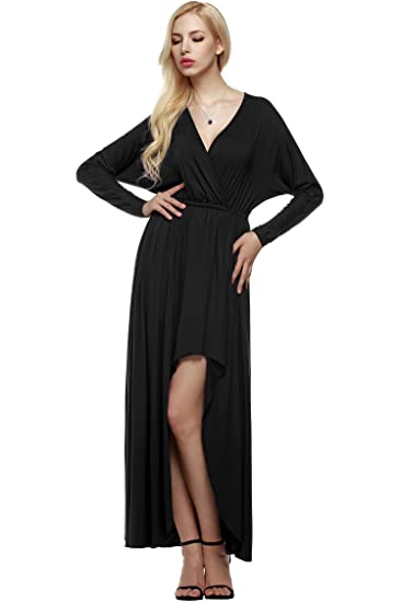 c2193d84fed Keliqq Womens Sexy Ladies V Neck Long Sleeve Evening Slit Formal Cocktail Maxi  Dress