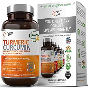 buy PurityLabs Organic Turmeric Curcumin Supplement – 1100mg