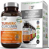 Purity Labs Organic Turmeric Curcumin Supplement – 1100mg, 120 Capsules, with Black Pepper Piperine and 95% Curcuminoids, Highest Potency and Best Joint Pain Relief Formula, Non-GMO & Gluten Free