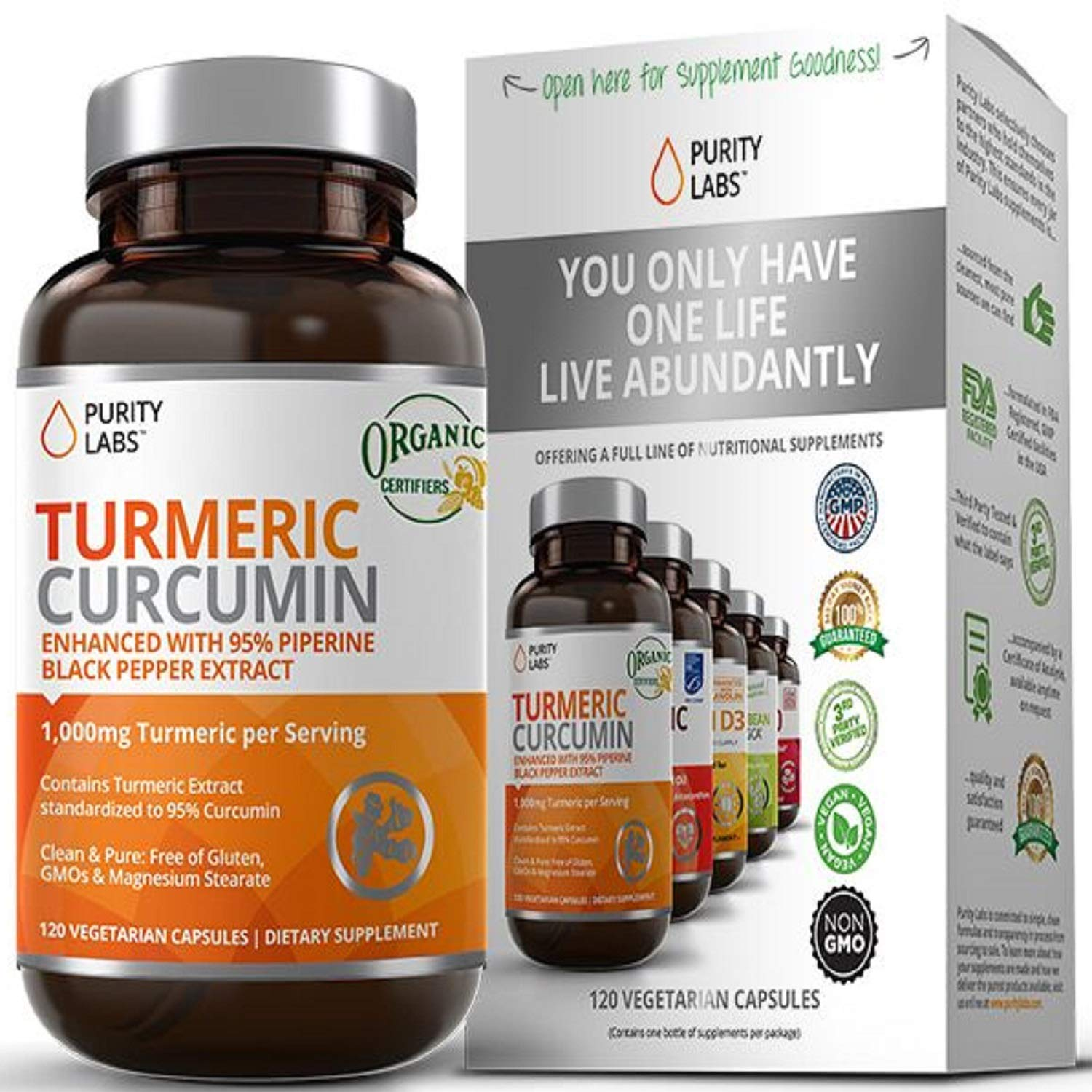 Purity Labs Organic Turmeric Curcumin Supplement - 1100mg, 120 Capsules, with Black Pepper Piperine and 95% Curcuminoids, Highest Potency and Best Joint Pain Relief Formula, Non-GMO & Gluten Free