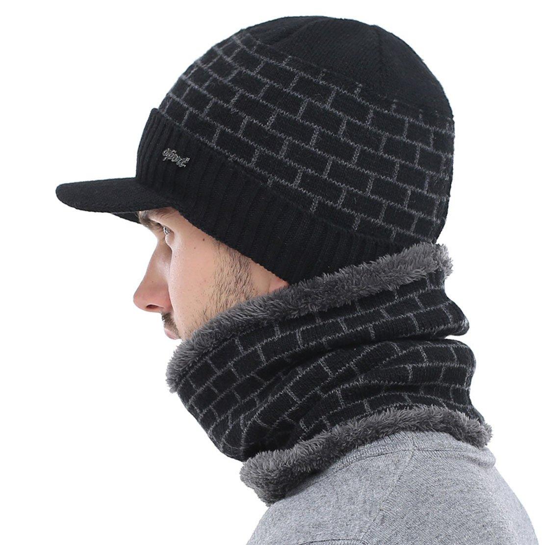 AETRUE Winter Hat Skullies Beanies Men Women Knitted Hat Scarf Winter Caps Mask Balaclava Bonnet Cap Wool Fur Beanies Hats 2018 (Dark Grey) at Amazon Mens ...