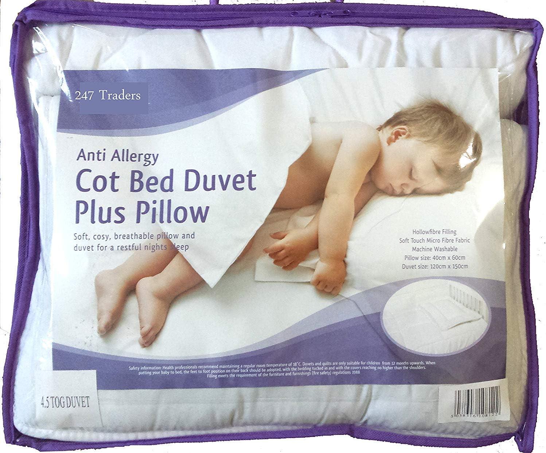 Baby Cot Cot Bed Duvet /& Pillow Filling Set 120x90cm 100/% Cotton Opt.8