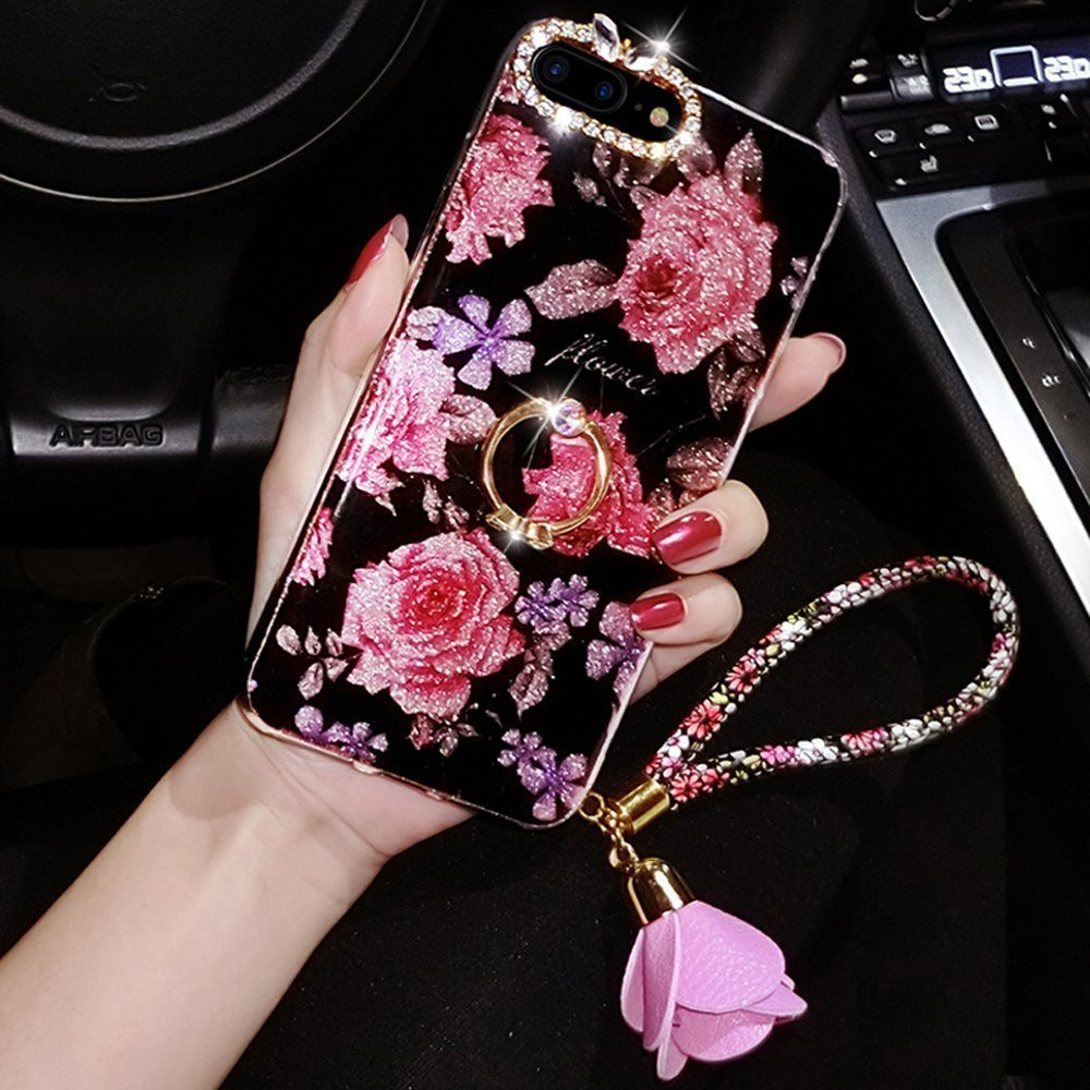 iPhone 8 Plus móvil, iPhone 7 Plus, diseño de brillantes, iPhone 8 Plus Case Negro Rosa Flor Rosa Silicona Carcasa para iPhone 7 Plus, felfy ultrafina suave TPU silicona Case Lujo Color Rosa Flores Bling brillante brillante cristal strass diamante Back Co