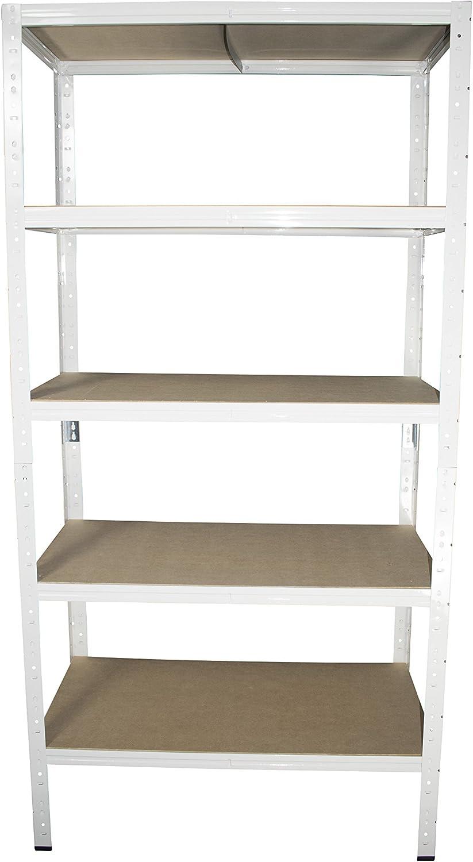 shelfplaza/® HOME /Étag/ère charge lourde m/étallique blanc de 180x60x40 cm avec 5 tablettes entrep/ôts garage grenier atelier maison