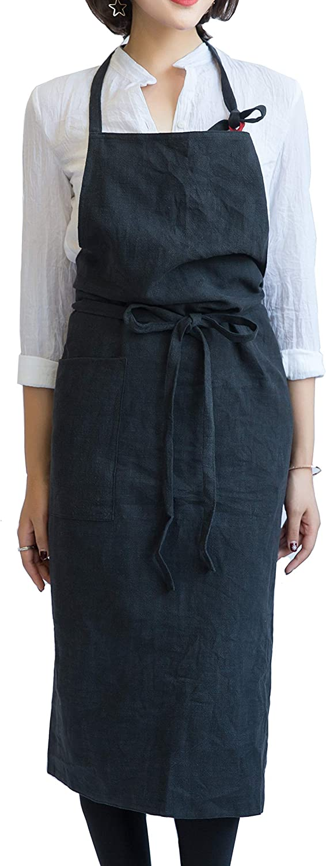 mo-babyレディースキッチンファッションエプロンwith 39 x 39インチ、100 %コットンリネン ブラック