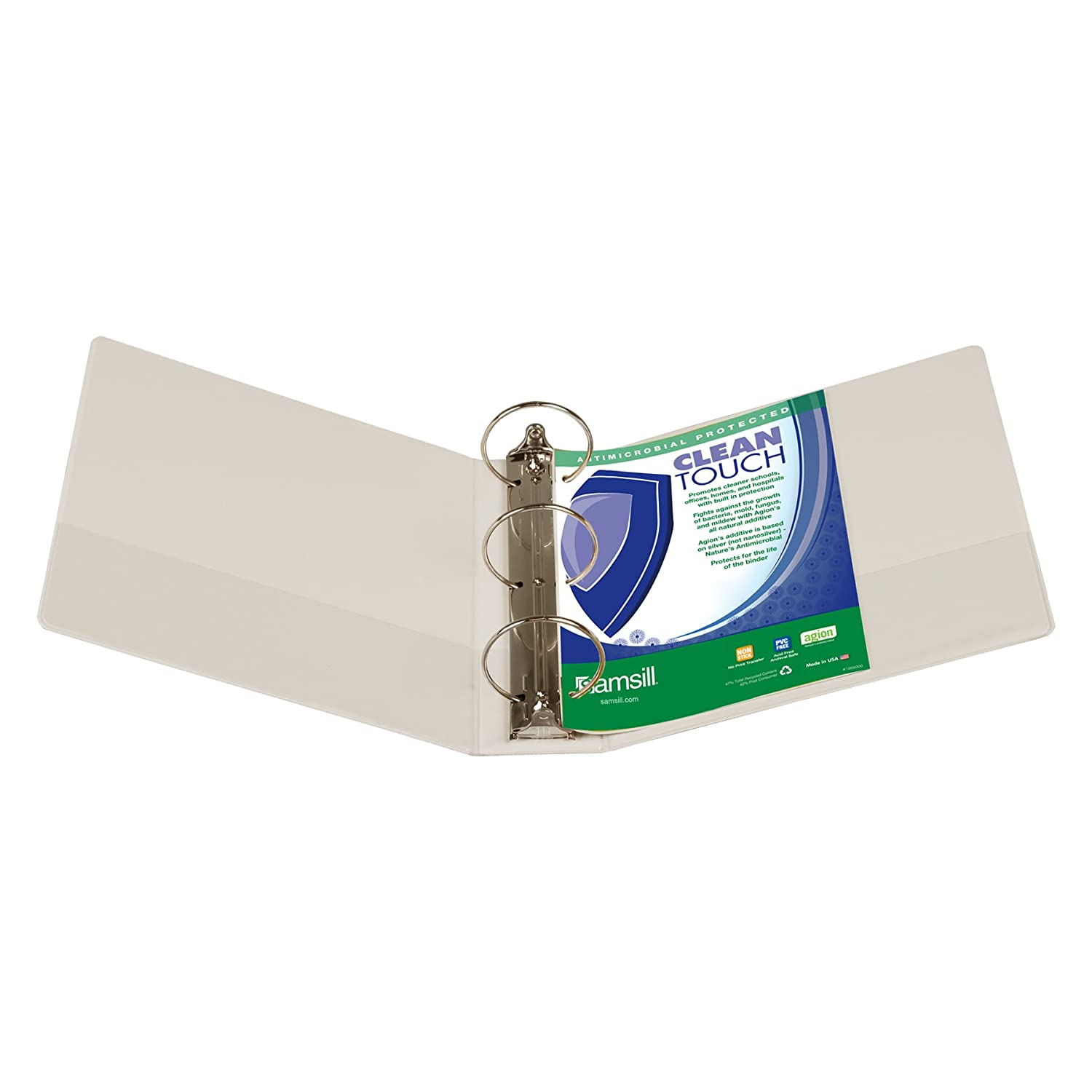 C... Samsill Clean Touch 3 Ring View Binder Protected by Antimicrobial Additive