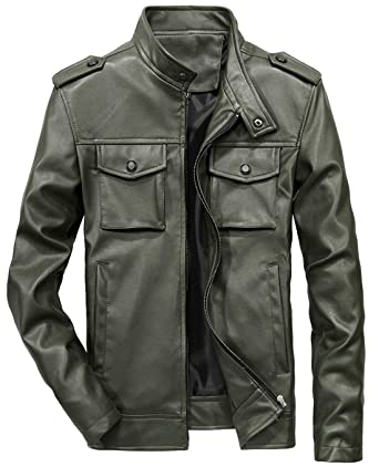 cf10074a5 chouyatou Men's Military Stylish Zip-Front Slim Moto Faux Leather Biker  Jacket