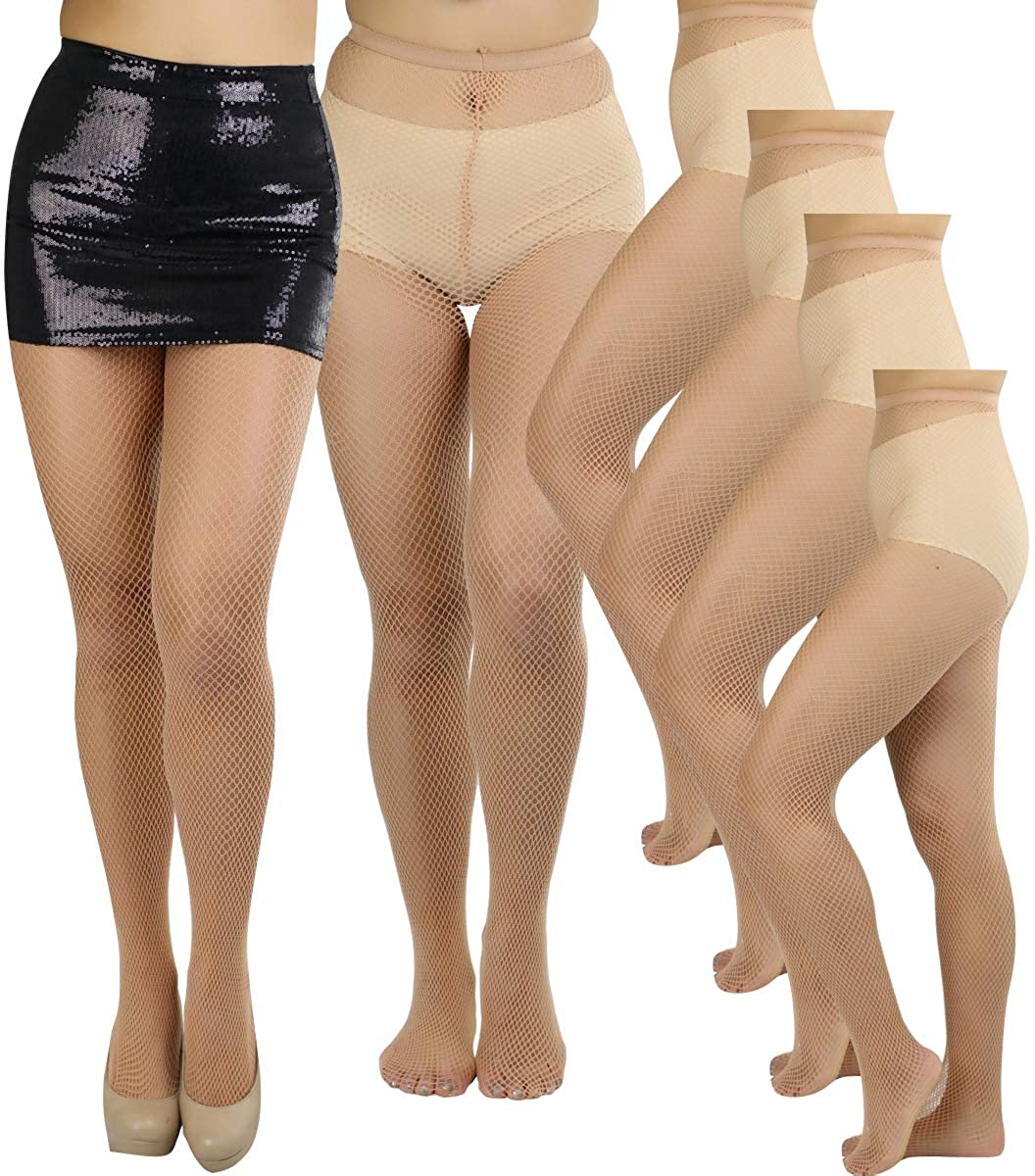 9d58645717a19e ToBeInStyle Womens Pack of 6 Vibrant Color Nylon Fishnet Pantyhose at  Amazon Women's Clothing store: