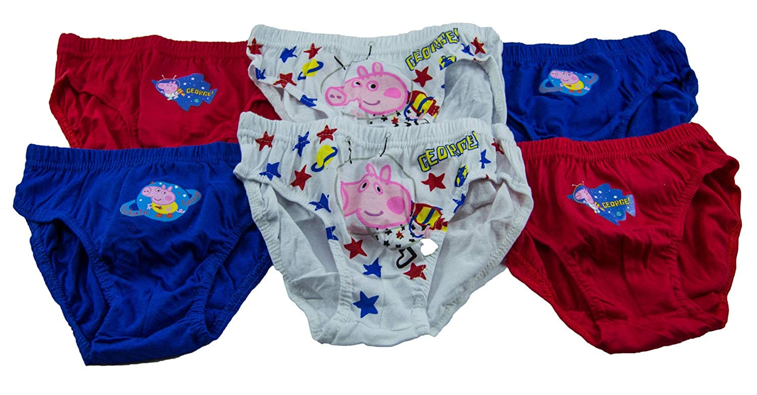 Colorful Underpants for Children Boys PeppaPig Peppa Wutz Underwear Briefs with Georg Wutz in Space 6-Pack of 100/% Cotton