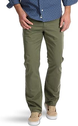 Amazon Com Wrangler Pantalones De Ajuste Recto Para Hombre 5 Bolsillos Color Verde Militar Clothing