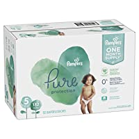 Diapers Size 5, 132 Count - Pampers Pure Protection Disposable Baby Diapers, Hypoallergenic...