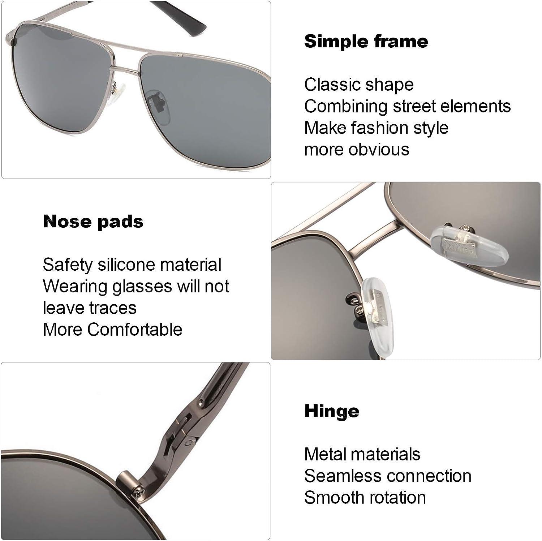 OSVAW Rettangolare Occhiali da sole da Uomo Polarizzati Telaio in Metallo 100/% UVA UVB Protezione