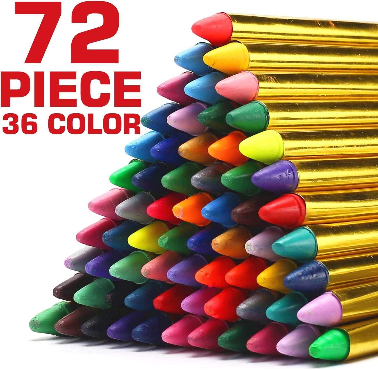"""72 Pack 36 Color Face and Body Paint Crayon 3"""", Safe Non-Toxic Painting Crayons Stick for Party Favors, Halloween, Birthday, Easter, School Carnival Makeup Marker Gift Set for Child Kid Boy and Girl"""