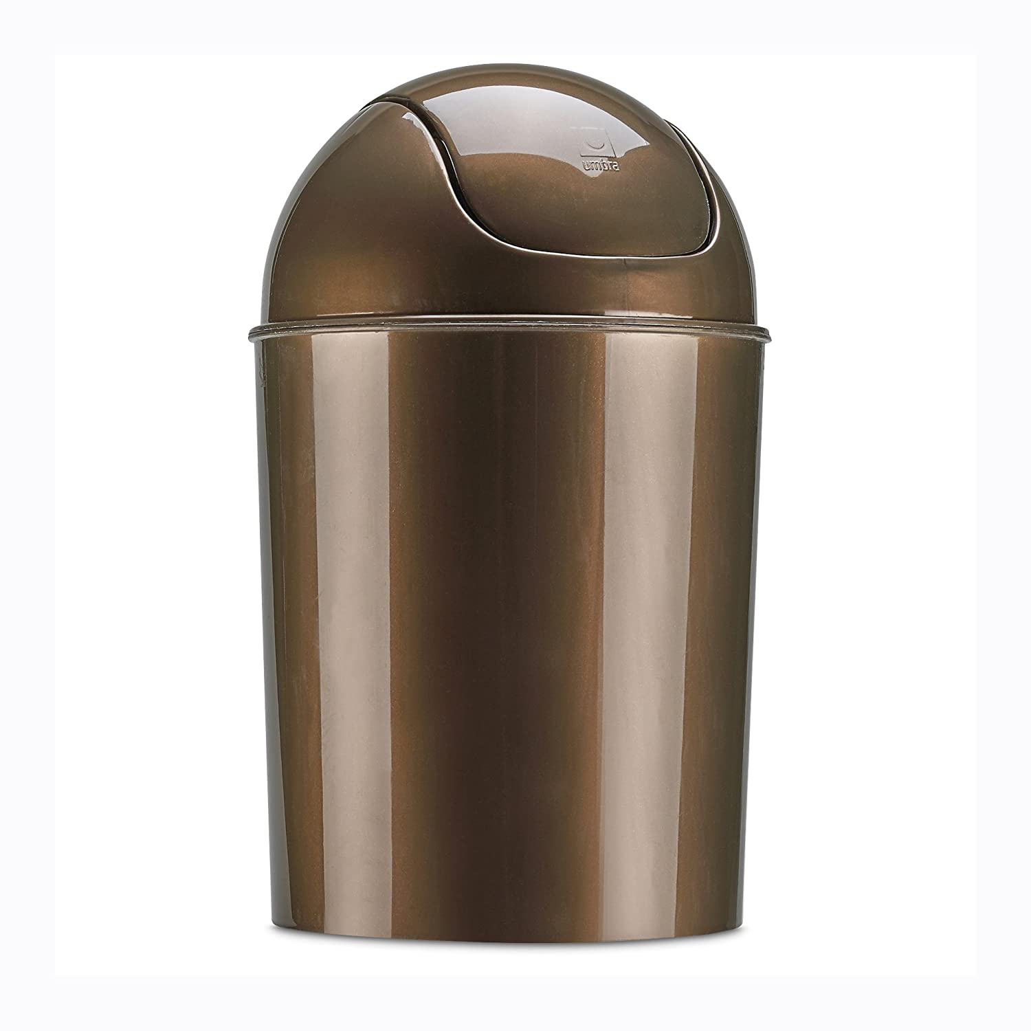 Umbra Mini Waste Can 1-1//2 Gallon with Swing Lid Bronze