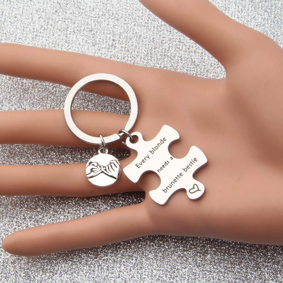 bobauna Every Blonde//Brunette Needs A Brunette//Blonde Bestie Pinky Promise Puzzle Keychain Set