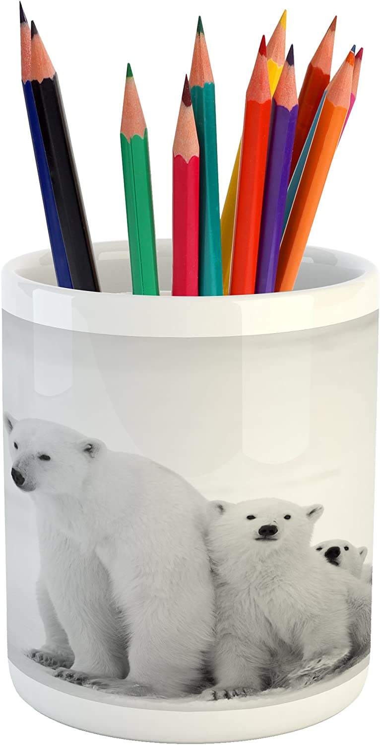 "Lunarable Sea Animals Pencil Pen Holder, Polar Bear Family with 2 Small Bear Cubs Around The Snow Cold Winter North, Ceramic Pencil Holder for Desk Office Accessory, 3.6"" X 3.2"", Grey"