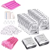 Paquete de 4 unidades de extensión de pestañas, 100 pares de almohadillas de gel para debajo de los ojos, 100 varitas desecha