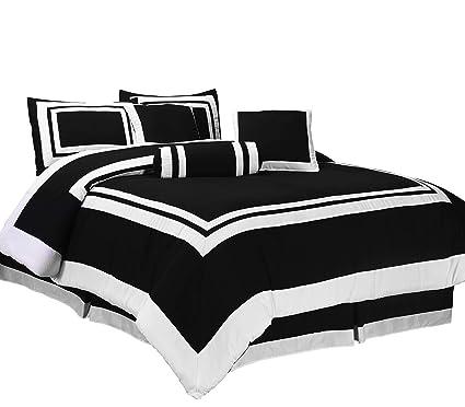 7f11306429 Amazon.com: Chezmoi Collection 7 Pieces Caprice Black/White Square ...
