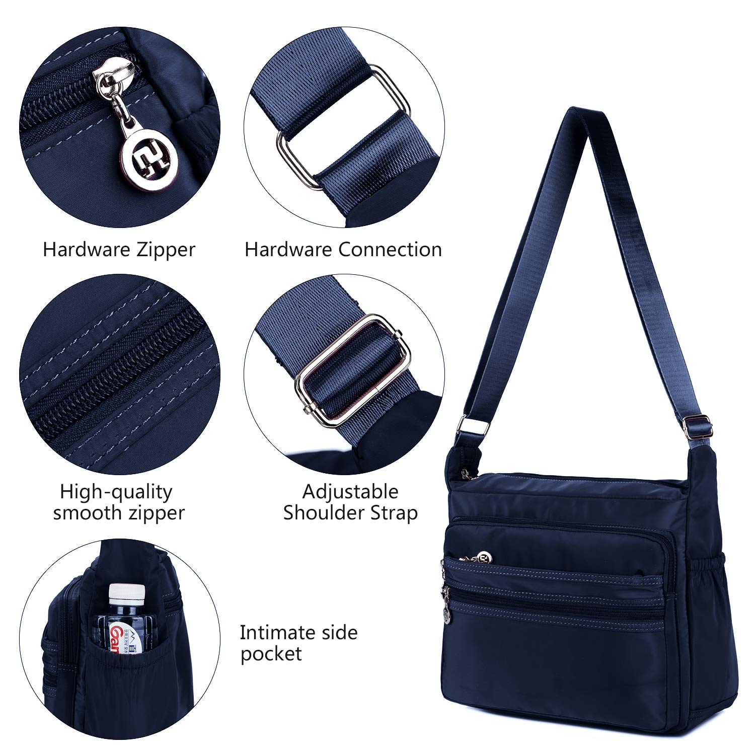 Crossbody Bag for Women Waterproof Shoulder Bag Messenger Bag Casual Canvas Purse Handbag (Small, Navy Blue) by NOTAG (Image #4)
