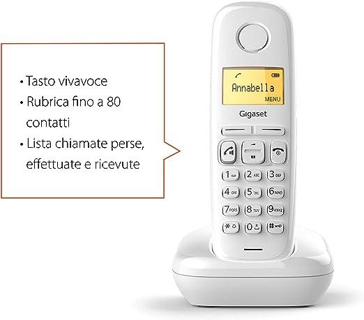 Gigaset A270 - Teléfono (Teléfono DECT, Terminal inalámbrico, Altavoz, 80 entradas, Identificador de Llamadas, Blanco): Amazon.es: Electrónica
