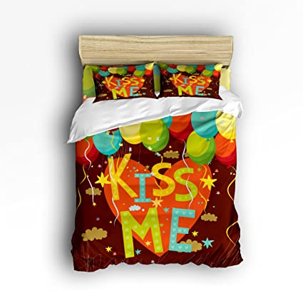 Delightful Libaoge 4 Piece Bed Sheets Set, KISS ME With Red Heart And Colorful  Balloons Print