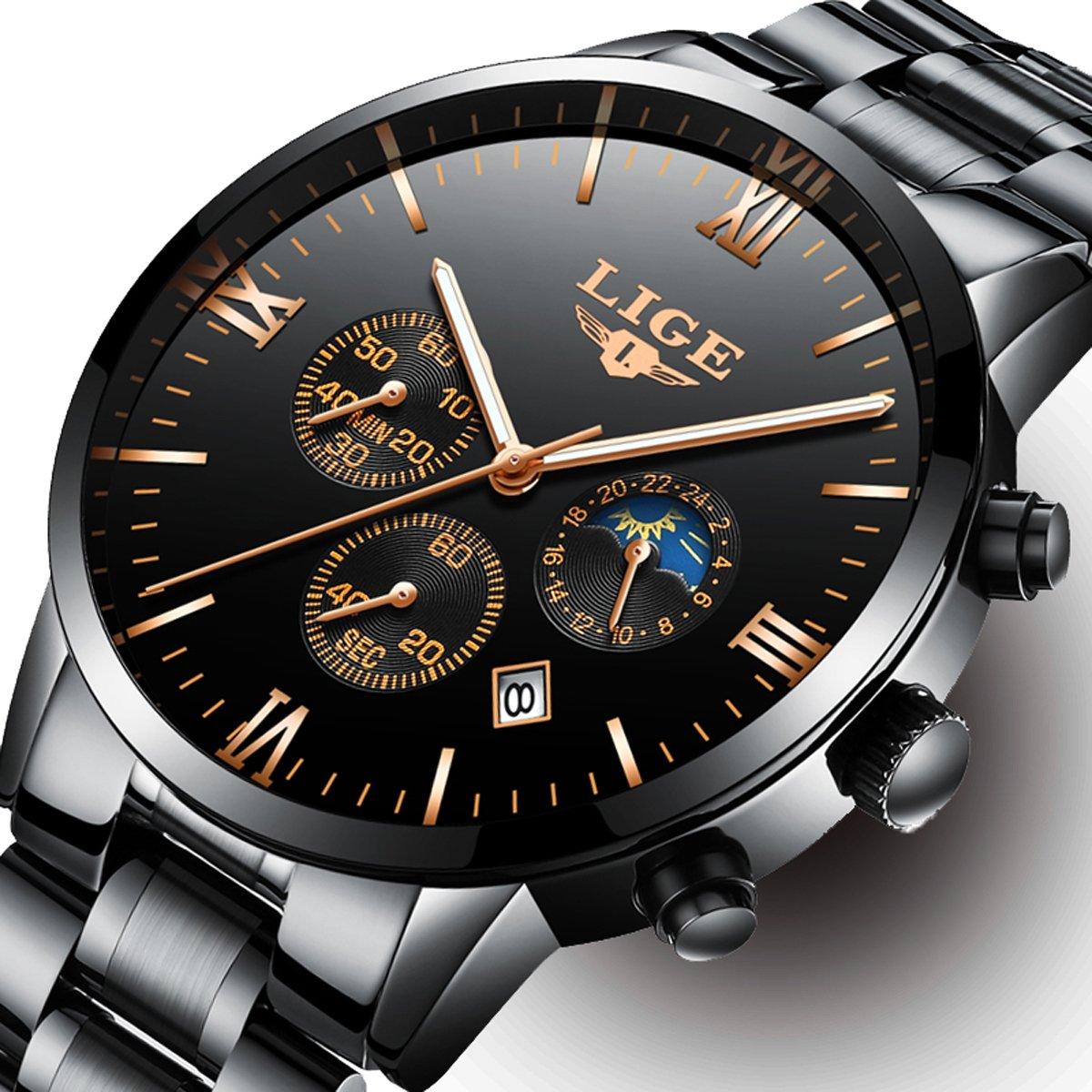 Mens Watches With Auto Date Chronograph Watch Men Sports Watches Waterproof 30M Full Steel Quartz Men's Black Watch