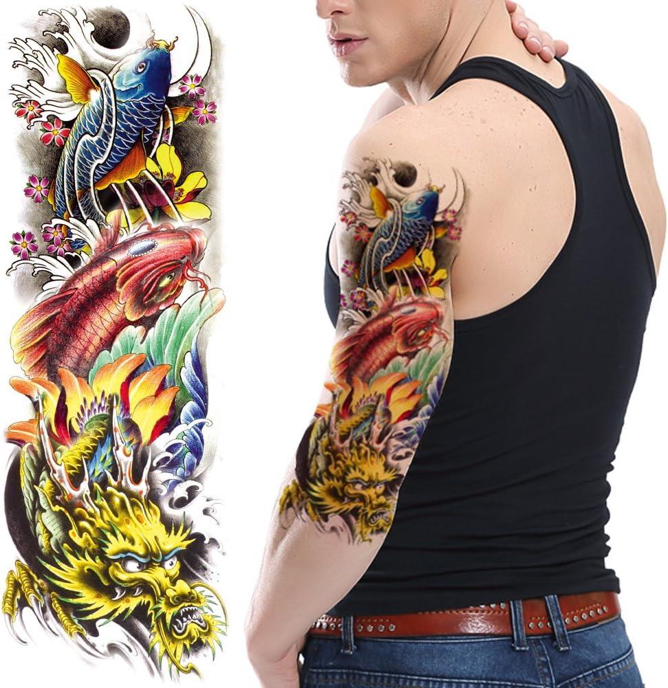 TAFLY Colorful Koi Carp y dragón tatuaje temporal impermeable ...