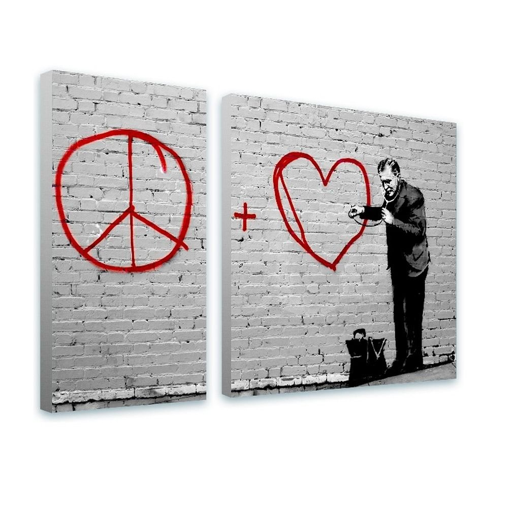 Alonline Art - Doctor Peace Love Heart by Banksy | framed stretched canvas on a ready to hang frame - 100% cotton - gallery wrapped | 30''x20'' - 76x51cm | 2 Panels split | Wall art home decor HD by Alonline Art