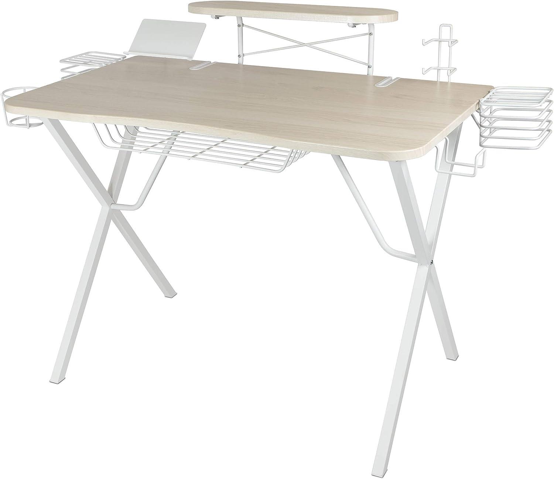 Atlantic Gaming Original Gaming-Desk Pro - NEW White Washed finish, Curved-Front, 10 Games, Controller, Headphone & Speaker Storage, 40.25x23.5 inch Curved Front Desktop, Enhanced Larger Design