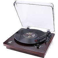 D&L 3 La vitesse Platine Vinyle Style Noyer avec Couvercle Transparent Anti-poussière Enregistrement PC Vinyle à MP3, Sortie RCA au Lecteur Audio, Aux Input (Bois Vintage-2)