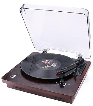 Giradiscos de dl Record Player Reproductor de Grabación de Vinilo a MP3 WAV de 3 Velocidades, 33, 45 y 78, con Cubierta Transparente a Prueba de ...