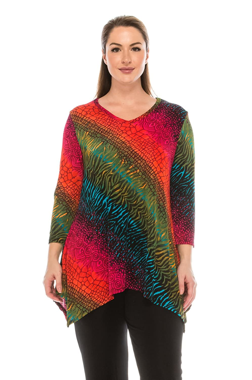 Jostar Womens HIT V-Neck Binding Top Half Sleeve Print