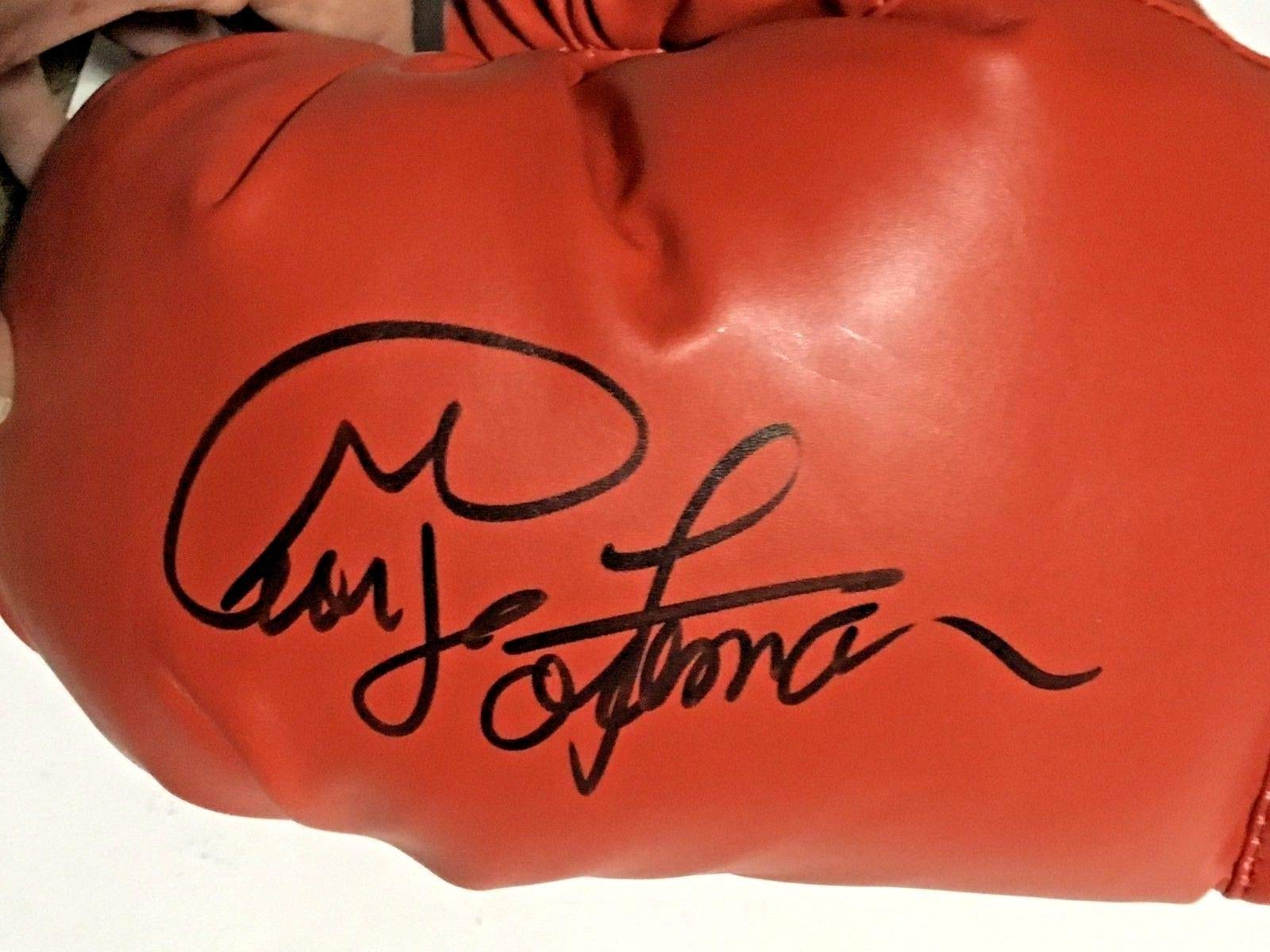 George Foreman signed red Everlast boxing glove mint autograph JSA COA